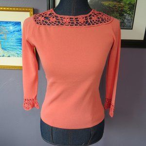 Joseph A Coral Sweater Embroidery Neck/Cuffs Small
